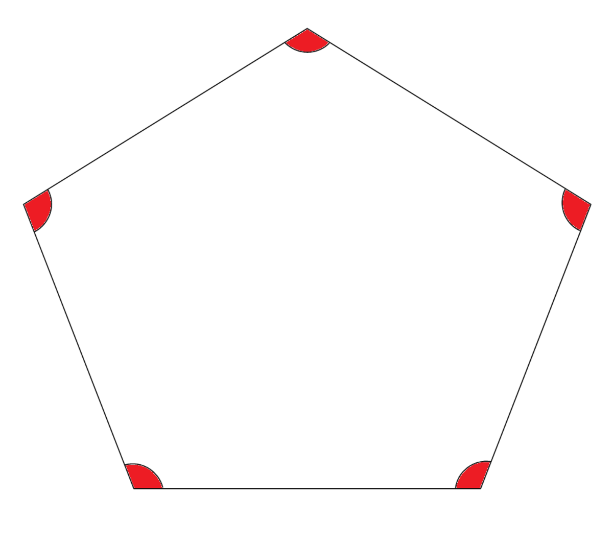 The interior angles of a pentagon.