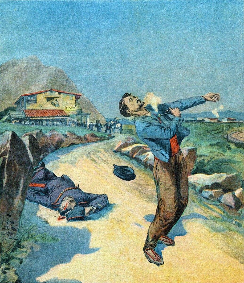 Le Petit Parisien's depiction of Mateu Morral Roca's suicide.