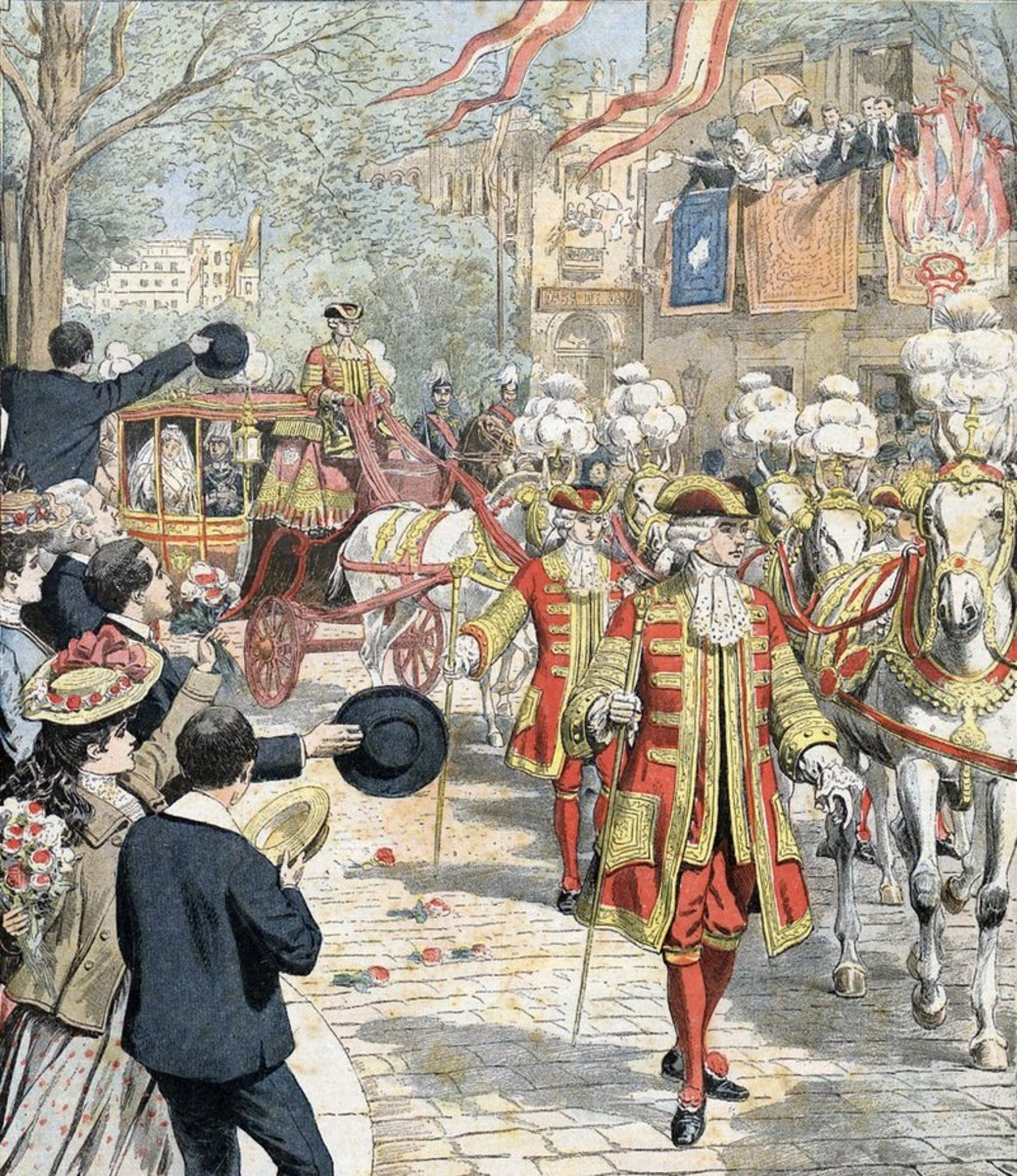 An illustration of the wedding procession before the bomb blast. (From Le Petit Journal.)