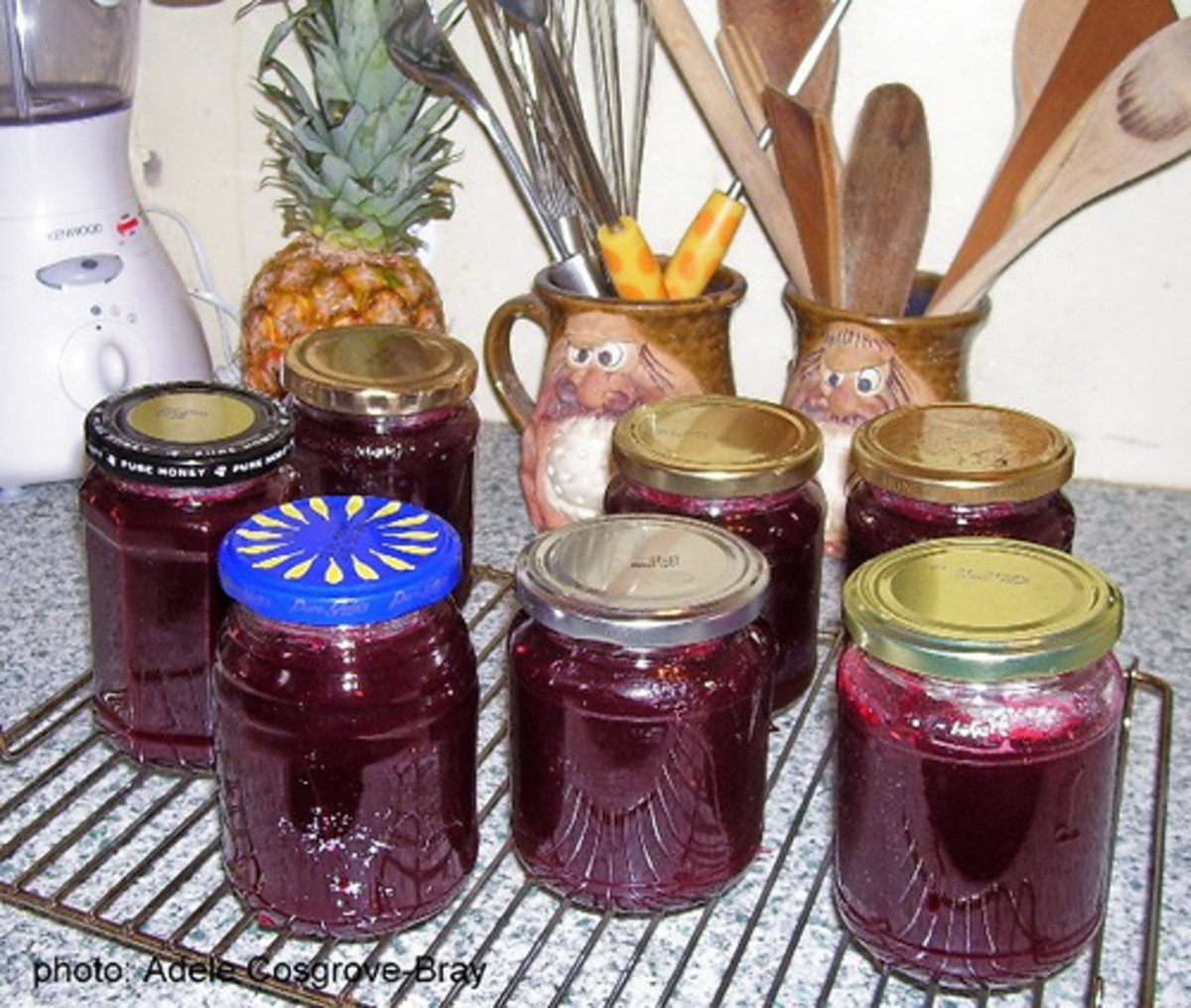 Delicious home-made jam, cooling on the rack and waiting to be labelled.