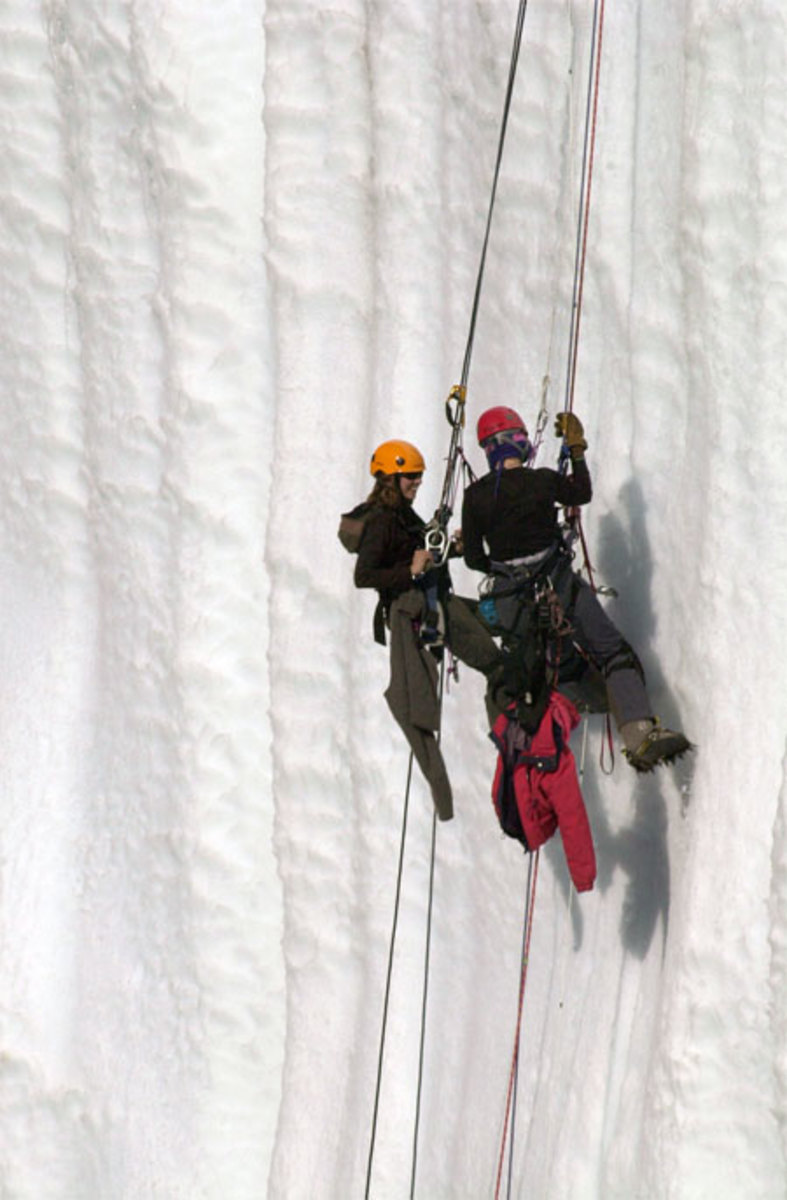 Ice climbers taking cores on Taylor glacier.  Image courtesy Kristan Hutchison and the National Science Foundation.