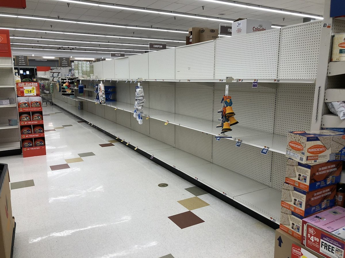 Bare shelves due to panic buying at the Giant supermarket in Franklin Farm, Virginia in March 2020