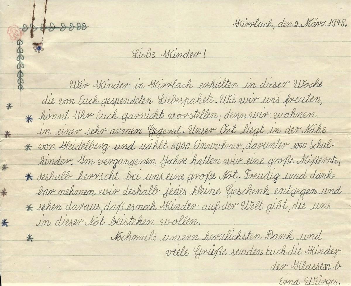 Thank you letter written in German
