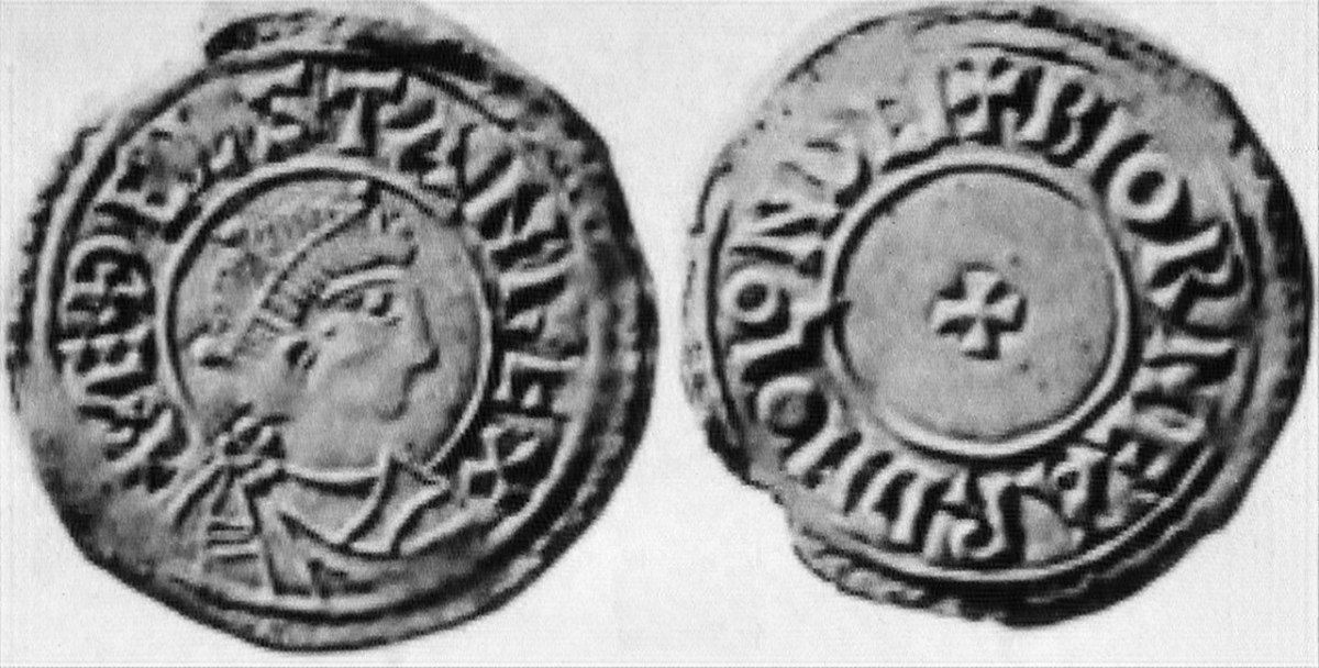 A coin from Aethelstan's reign. He founded a currency system for his people.