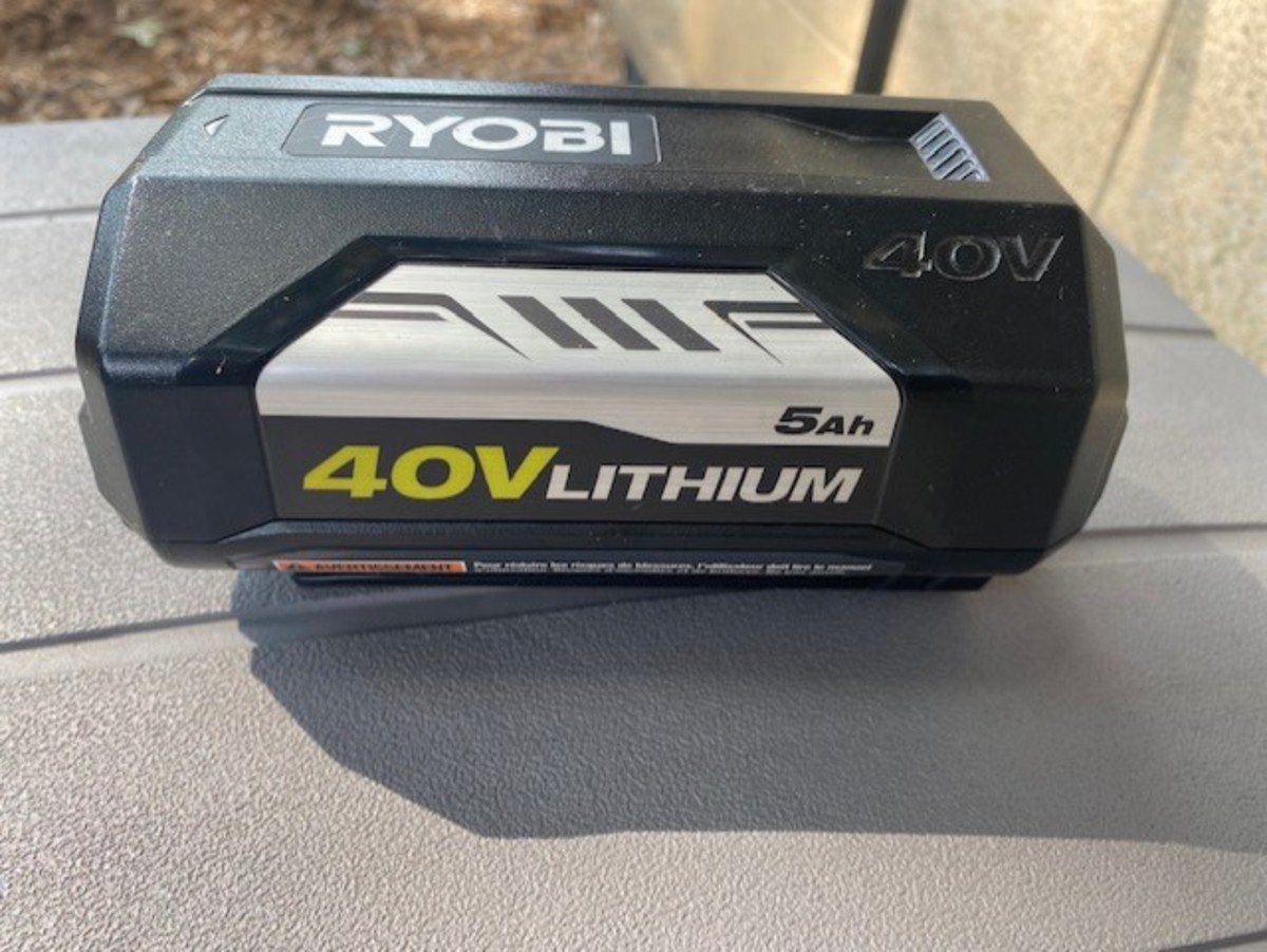 The large, powerful and costly 40-volt battery that powers my beast.