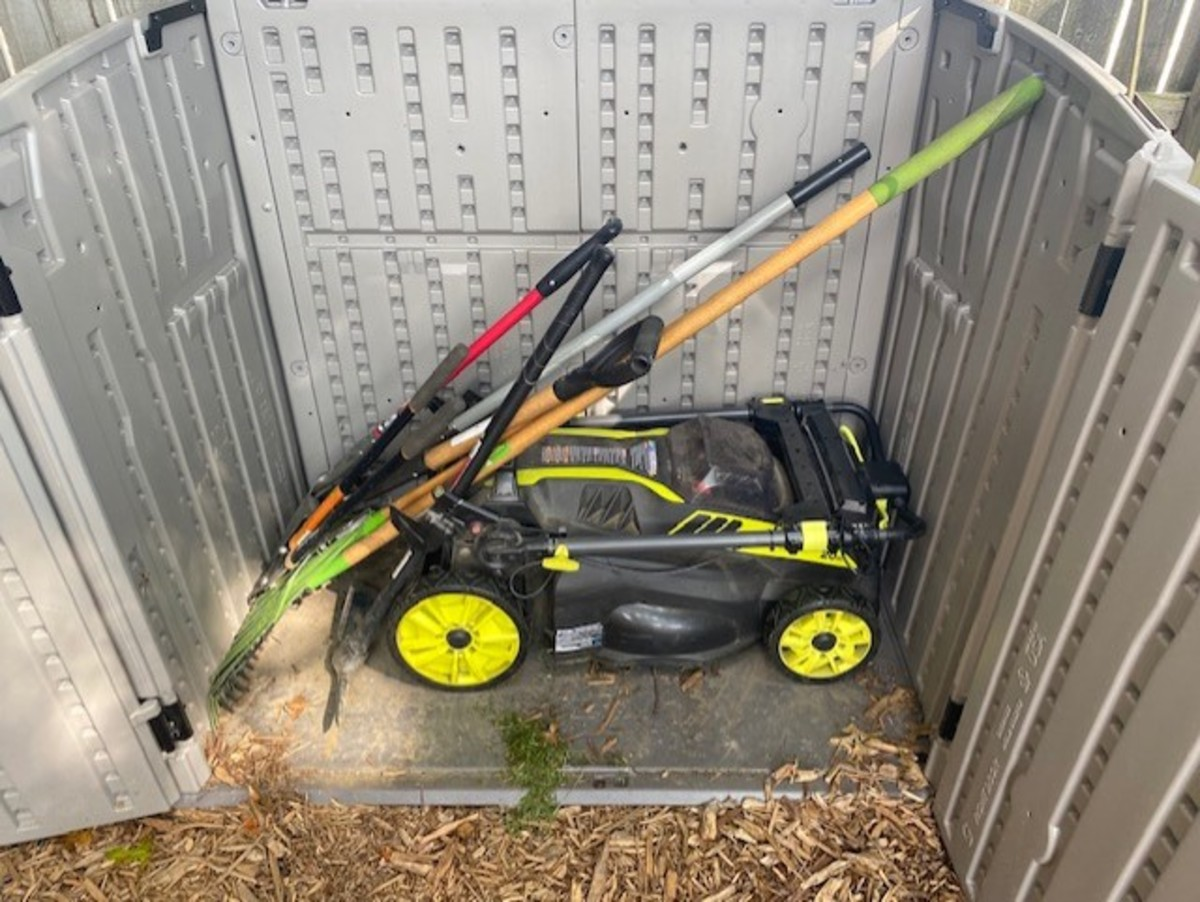 It fits nicely into a small storage shed with room for other yard tools.