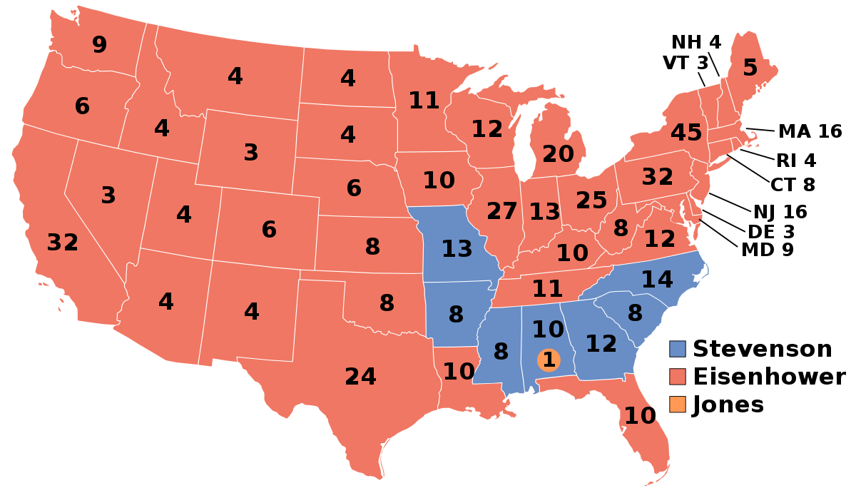 In the November, 1956 election, Republican Dwight D. Eisenhower was re-elected president of the United States by defeating Democrat Adlai Stevenson. Eisenhower received 35,579,180 popular votes to Stevenson's 26,028.028 popular votes.