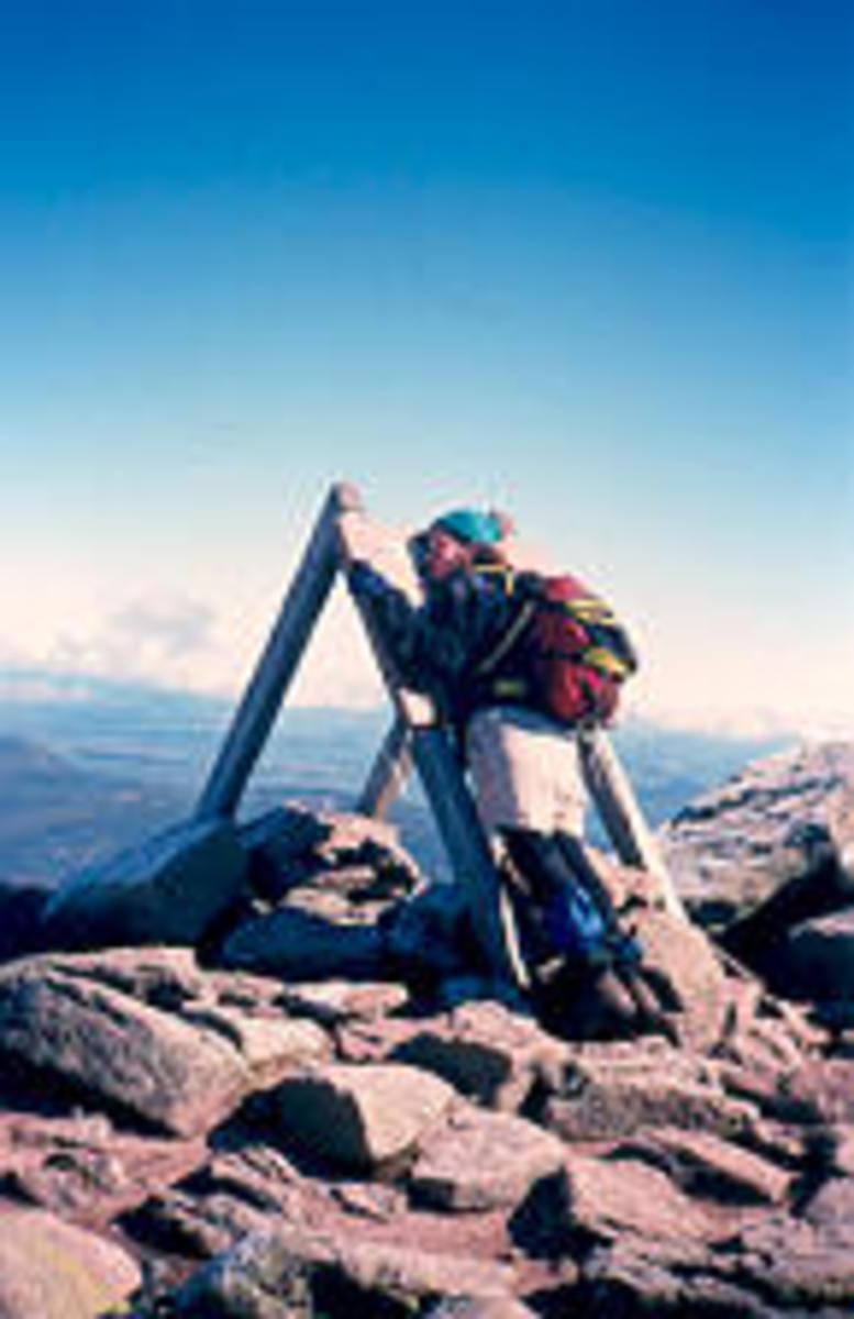 The northern terminus of the Appalachian Trail on Mt. Katahdin in Maine