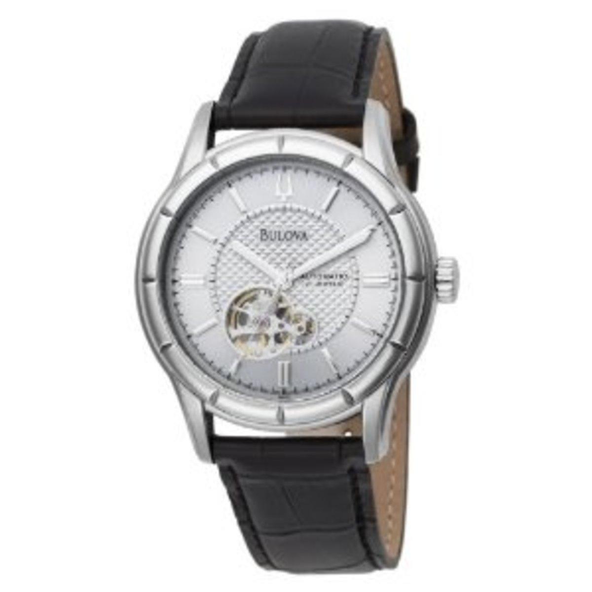 Bulova Men's 96A111 Automatic Strap Silver White Dial Watch