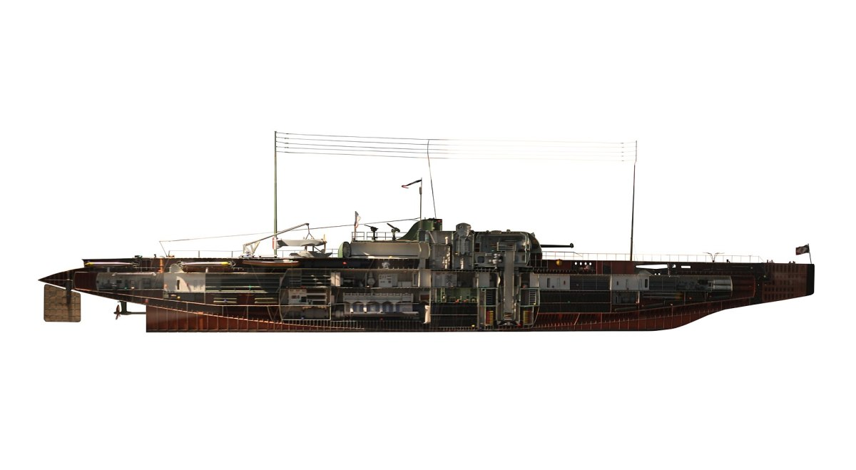 A scale model of the Surcouf