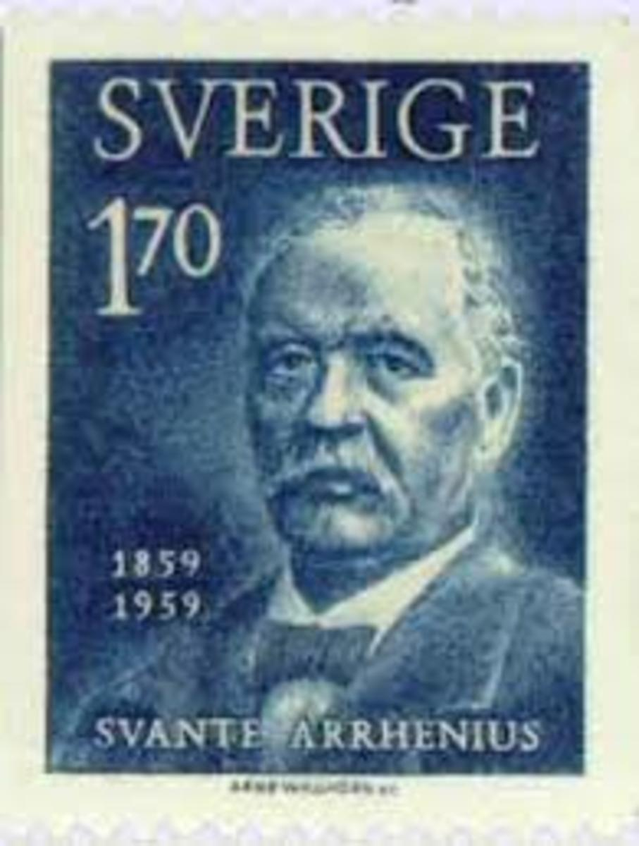 Svante Arrhenius, as honored on a Swedish postage stamp celebrating the centenary of his birth.