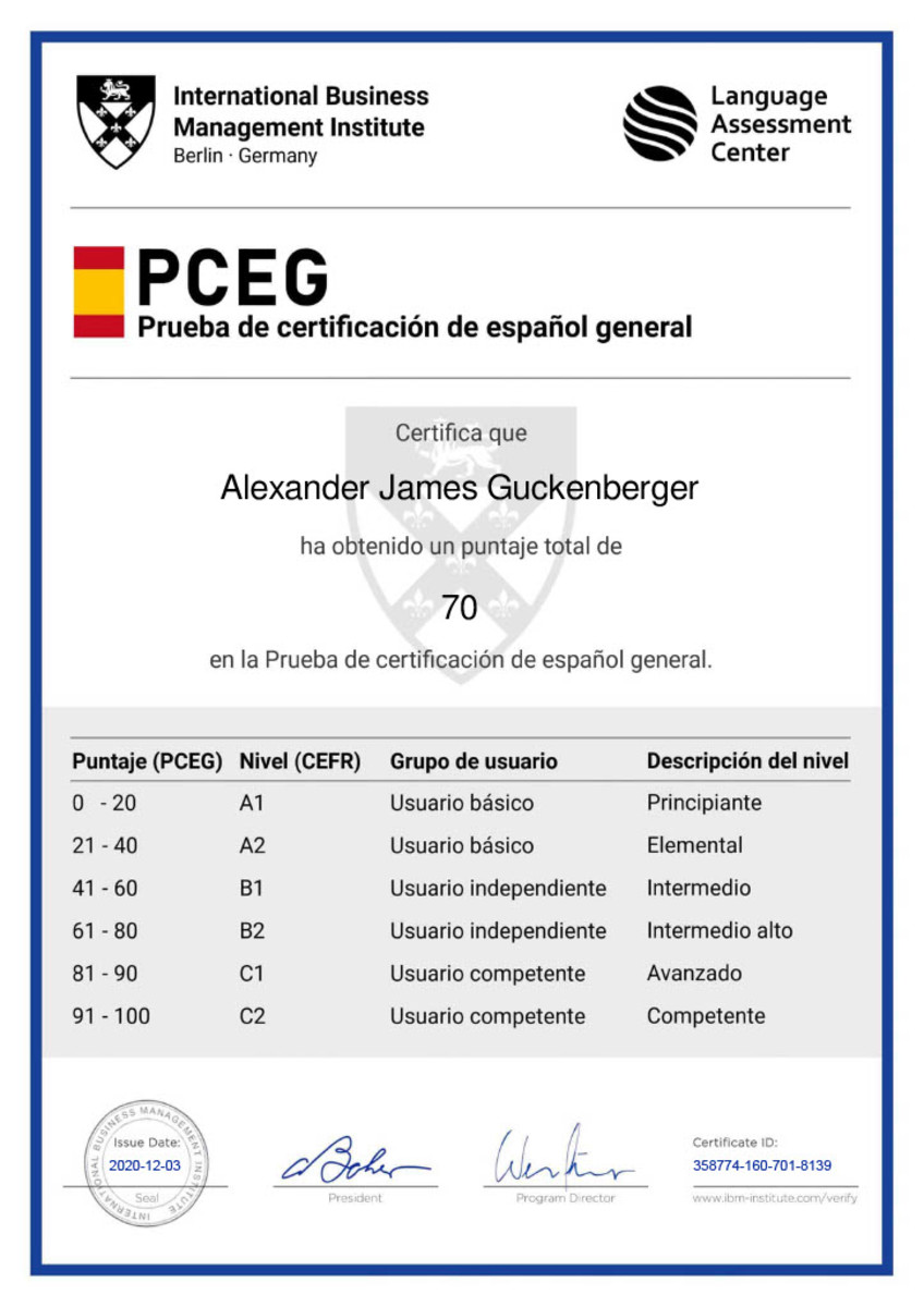 Here is an example of the certificate that can come with finishing a language exam.