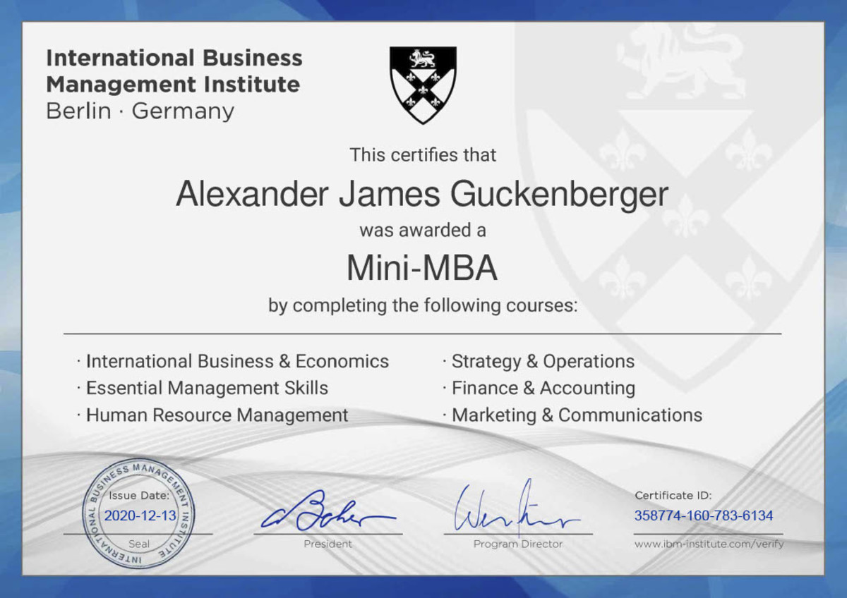Here is a copy of my own Mini-MBA certification.