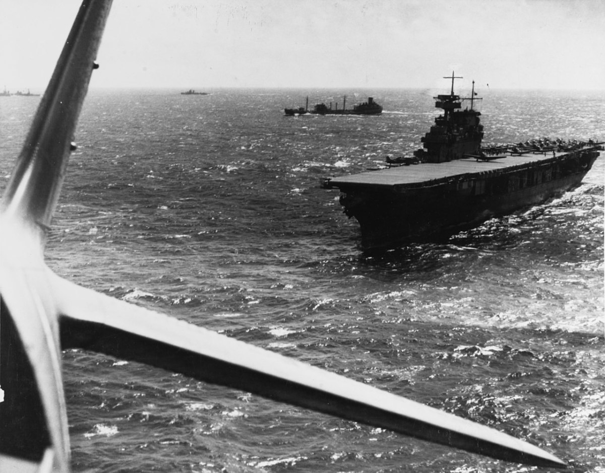 The American carrier USS Yorktown conducts aircraft operations in the Pacific sometime before the battle for the Coral Sea.