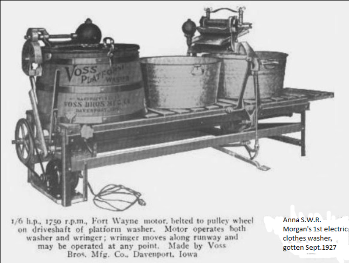 The kind of washing machine Gramma Morgan used in the mid-1920s. Before getting one, she probably used a washtub.