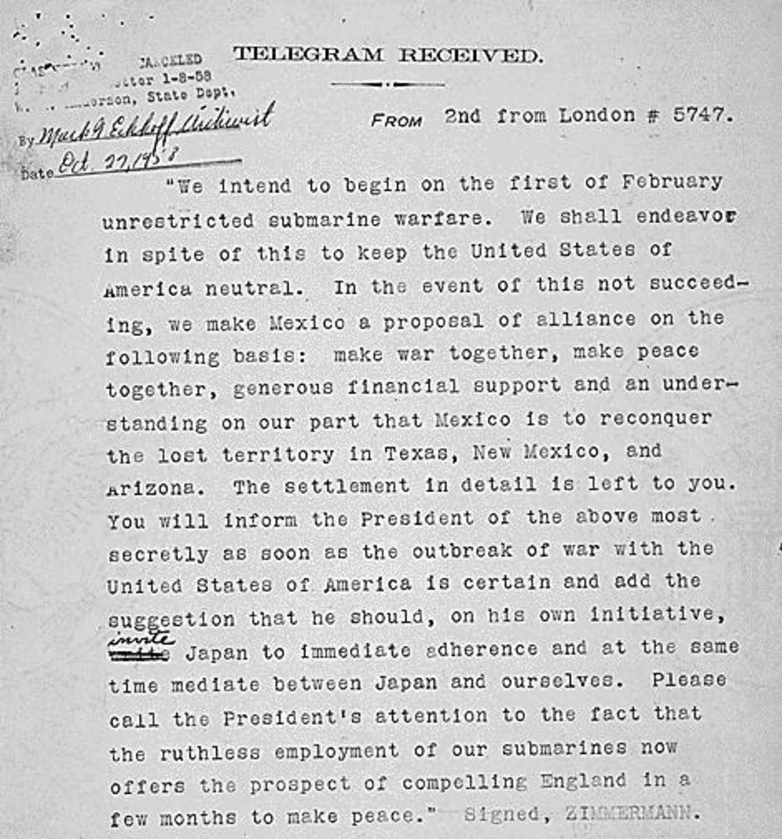 Copy of Zimmerman Telegram after it had been decoded. (Courtesy of U.S. National Archives)