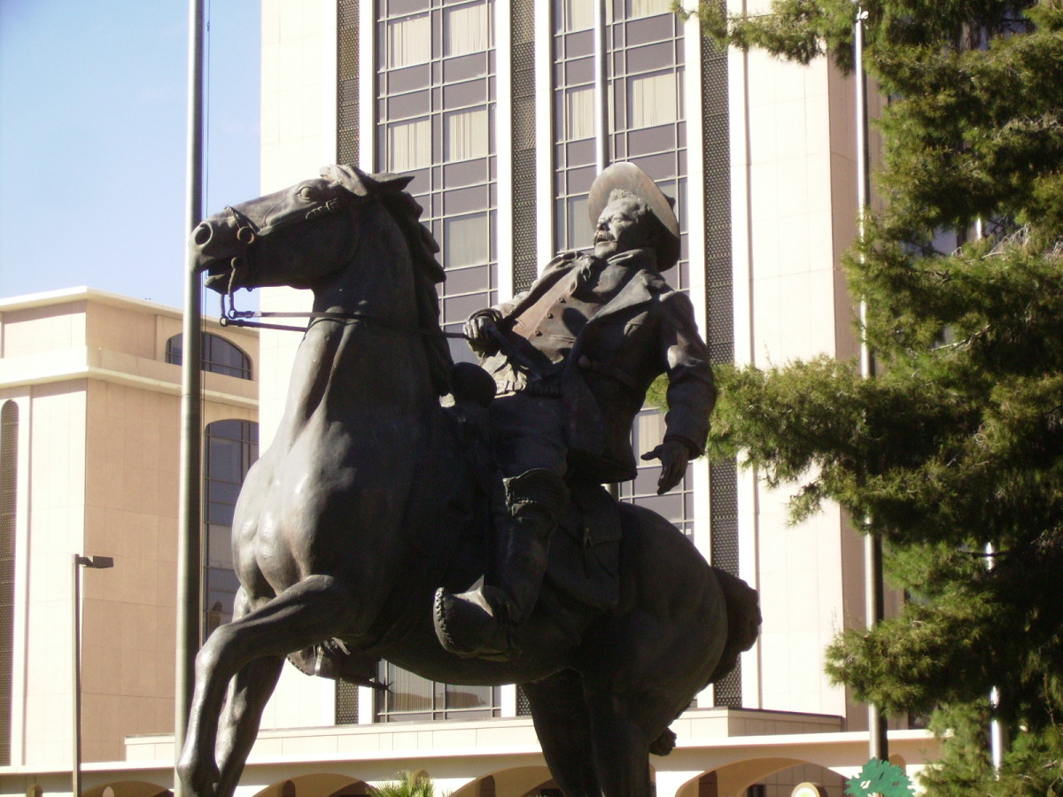 "Statue of Mexican General Francisco ""Poncho"" Villa in Downtown Tucson, Arizona."