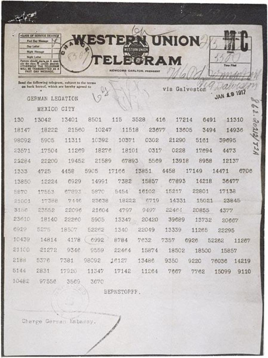 The Zimmerman Telegram as it appeared in the code used to transmit it from Washington, D.C. to Mexico City.  (Courtesy of U.S. National Archives)