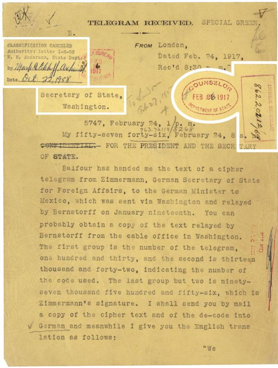 Telegram From U.S. Ambassador to Great Britain, Walter Page to President Wilson informing the President of the Zimmerman Telegram  (Courtesy  U.S. National Archives)