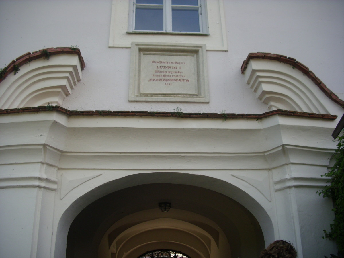The script below the window stated that  King Ludwig I, The King of Bavaria rebuilt the Benedictine Monastery in 1836