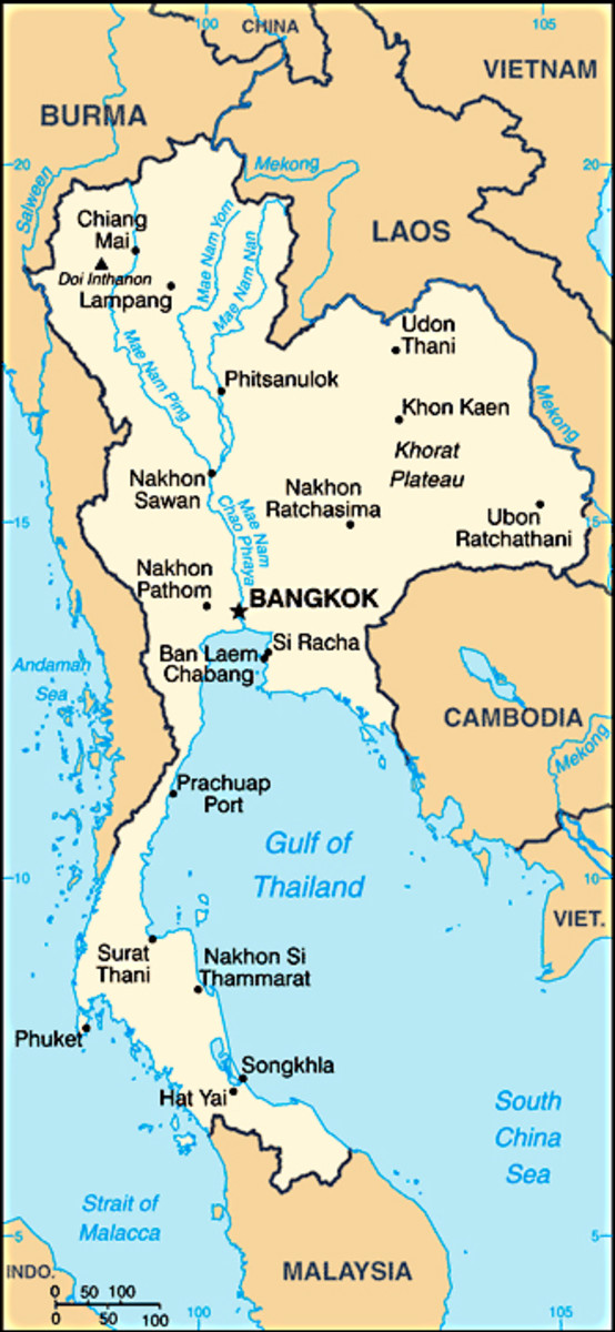 The map of Thailand, its neighbouring nations and the coastline