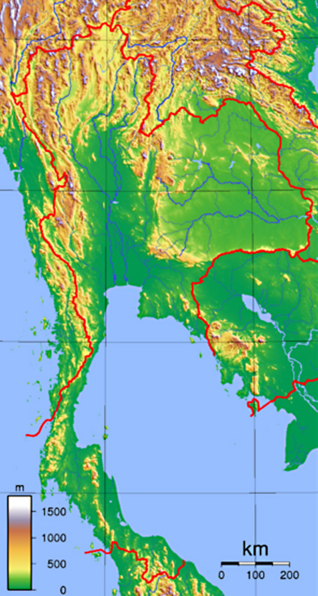 The topography of Thailand. Note the mountain ranges in the north, and the two great river basins of Central Thailand - the Chao Phraya and the Mekong