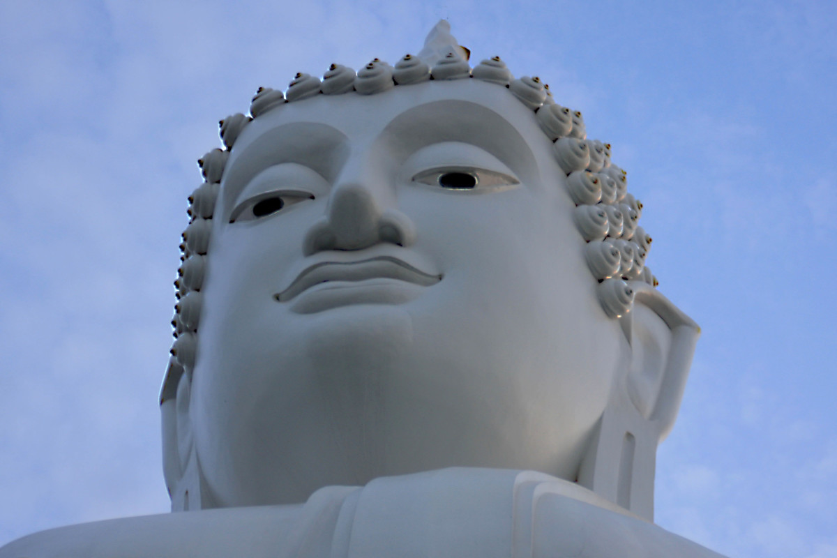 A giant Buddha statue which stands on a prominent hill in N.E Thailand