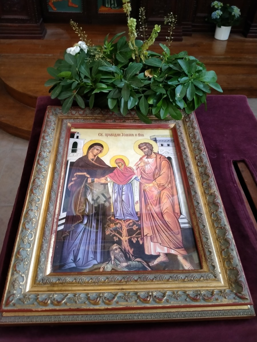 In Orthodox Christian churches, usually the main icons on display for major Christian feasts are placed along with fresh flowers and wine. And what is the main icon placed for exhibition in your church?