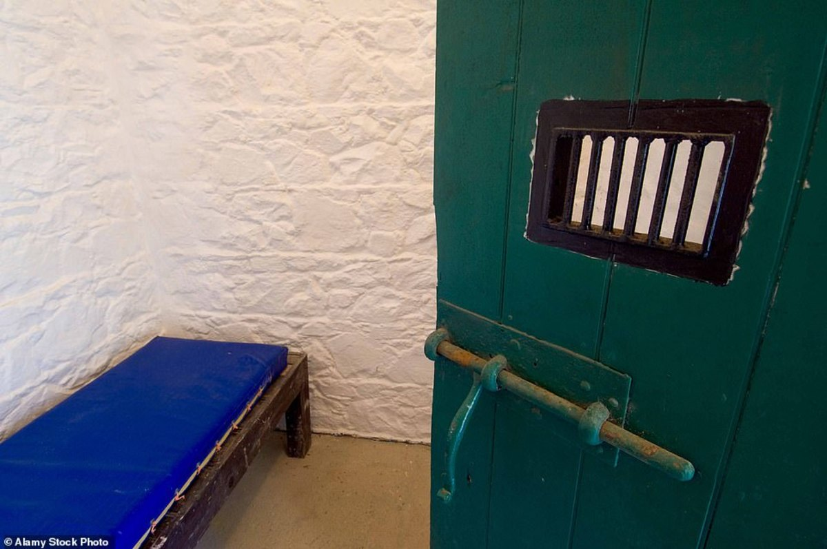 The tiny, barrel-roofed jail just comprises of two windowless cells, measuring six feet by six and six feet by eight, and a three-foot-wide corridor that runs in front of them.