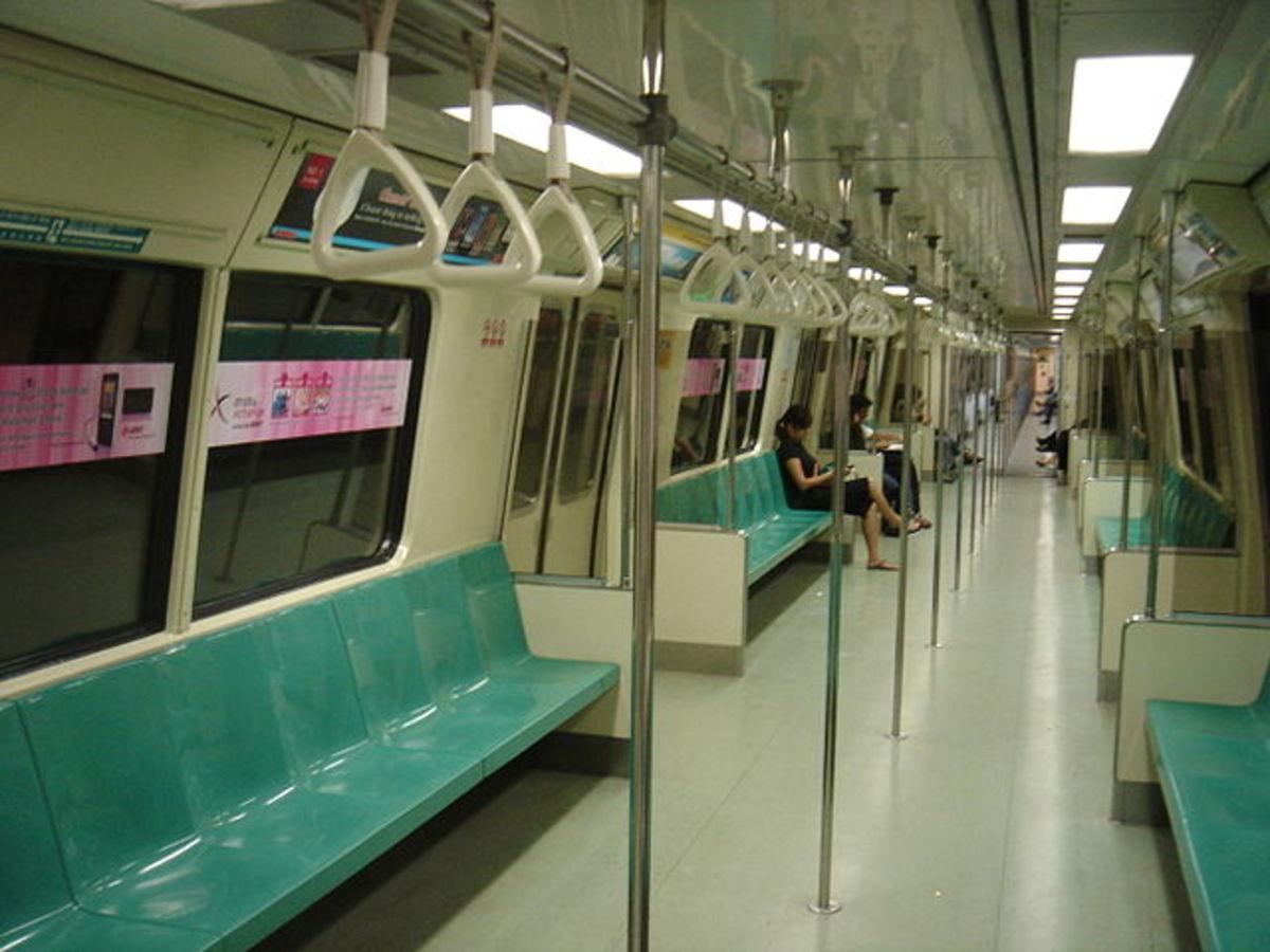 Inside the MRT train.