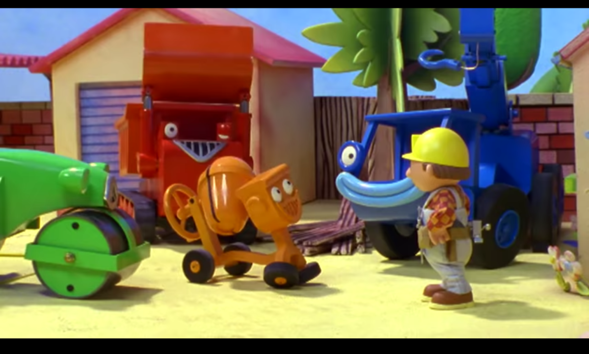 """These are a few members of Bob the Builder's crew, or """"helpers"""". Each of their personalities is designed to highlight a single trait, and as such they are emotionally 2 dimensional."""