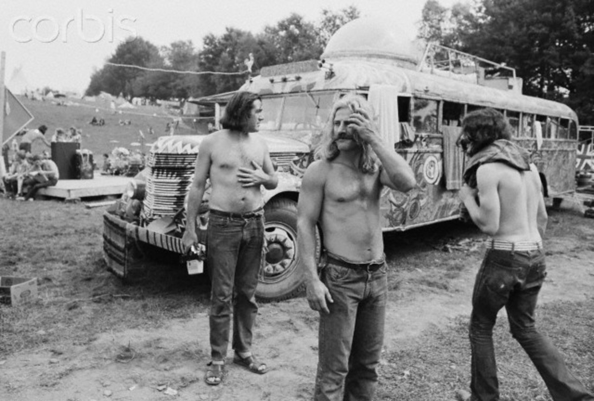 Hippies helping with crowd control at Woodstock.