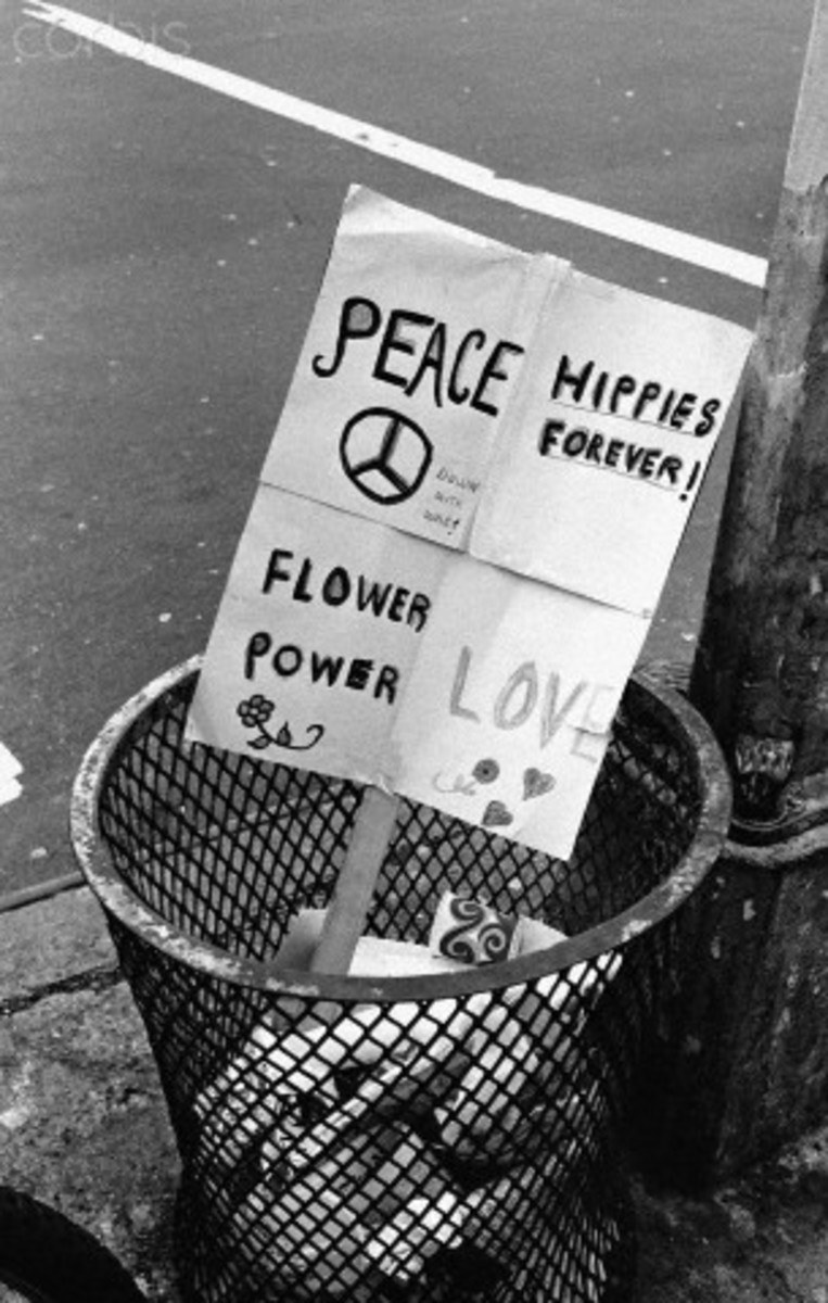 Hippies protested against the war in Vietnam and here is one of their protest signs.