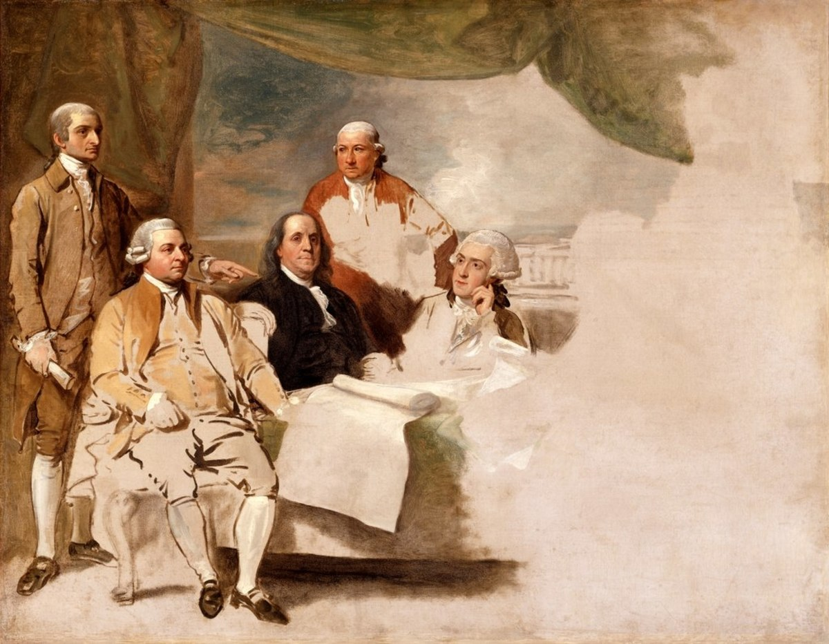 The Treaty of Paris by Benjamin West in 1783. Left to right: John Jay, John Adams, Benjamin Franklin, Henry Laurens, and William Temple Franklin. The British delegation refused to pose, and the painting was never finished.
