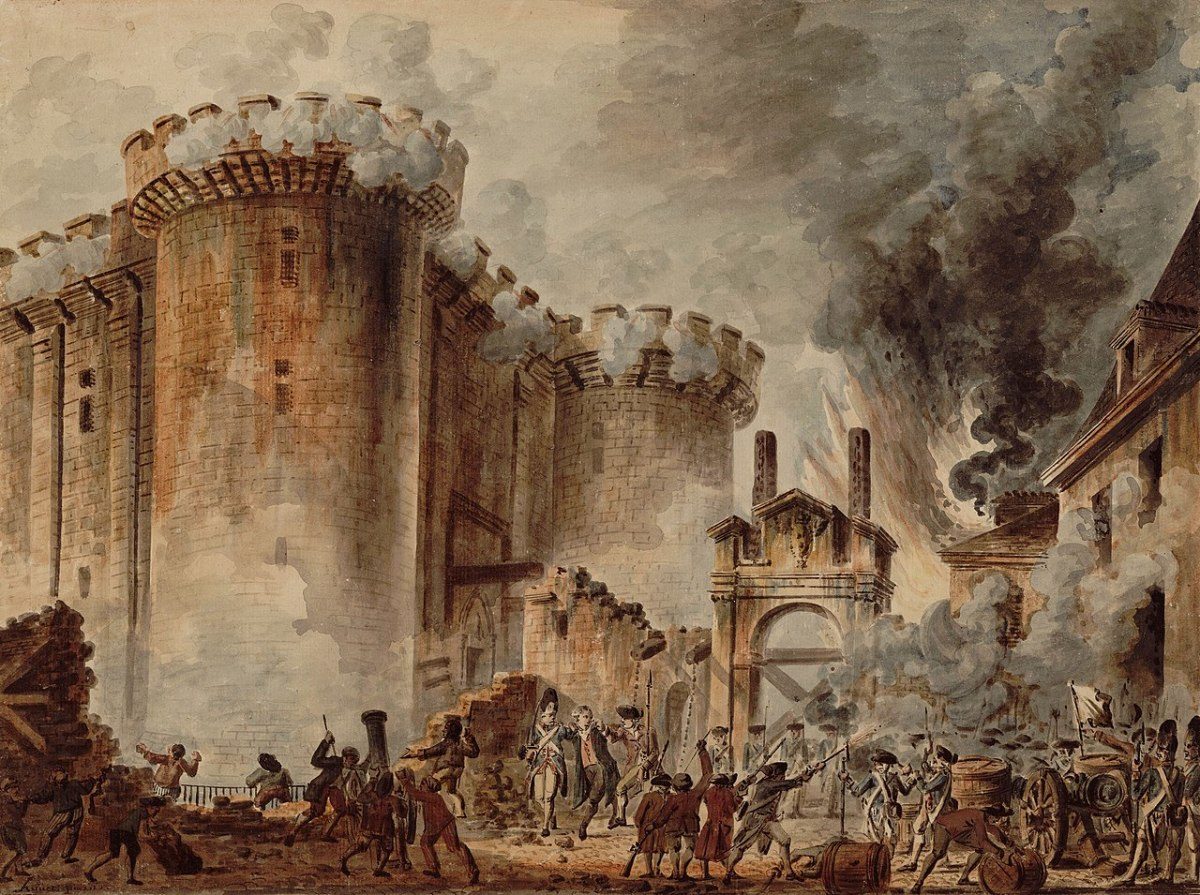 """""""Storming of the Bastille"""" by Jean-Pierre Houël, 1789."""