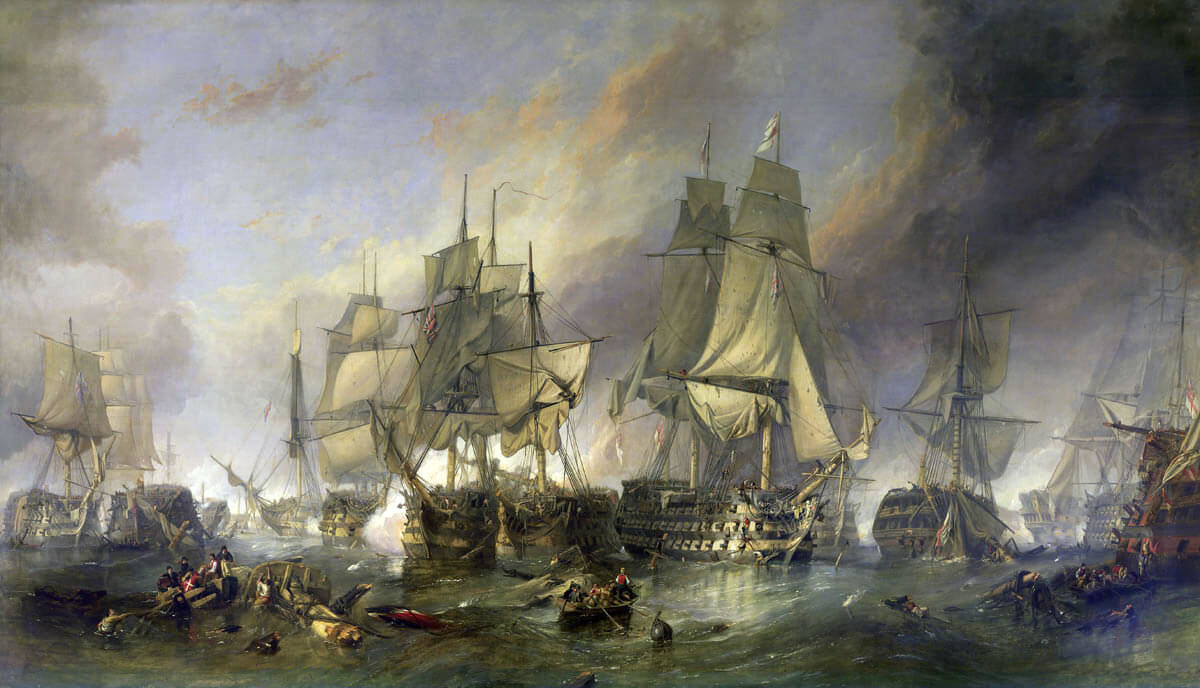 The Battle of Trafalgar by Clarkson Frederick Stanfield, 1805.