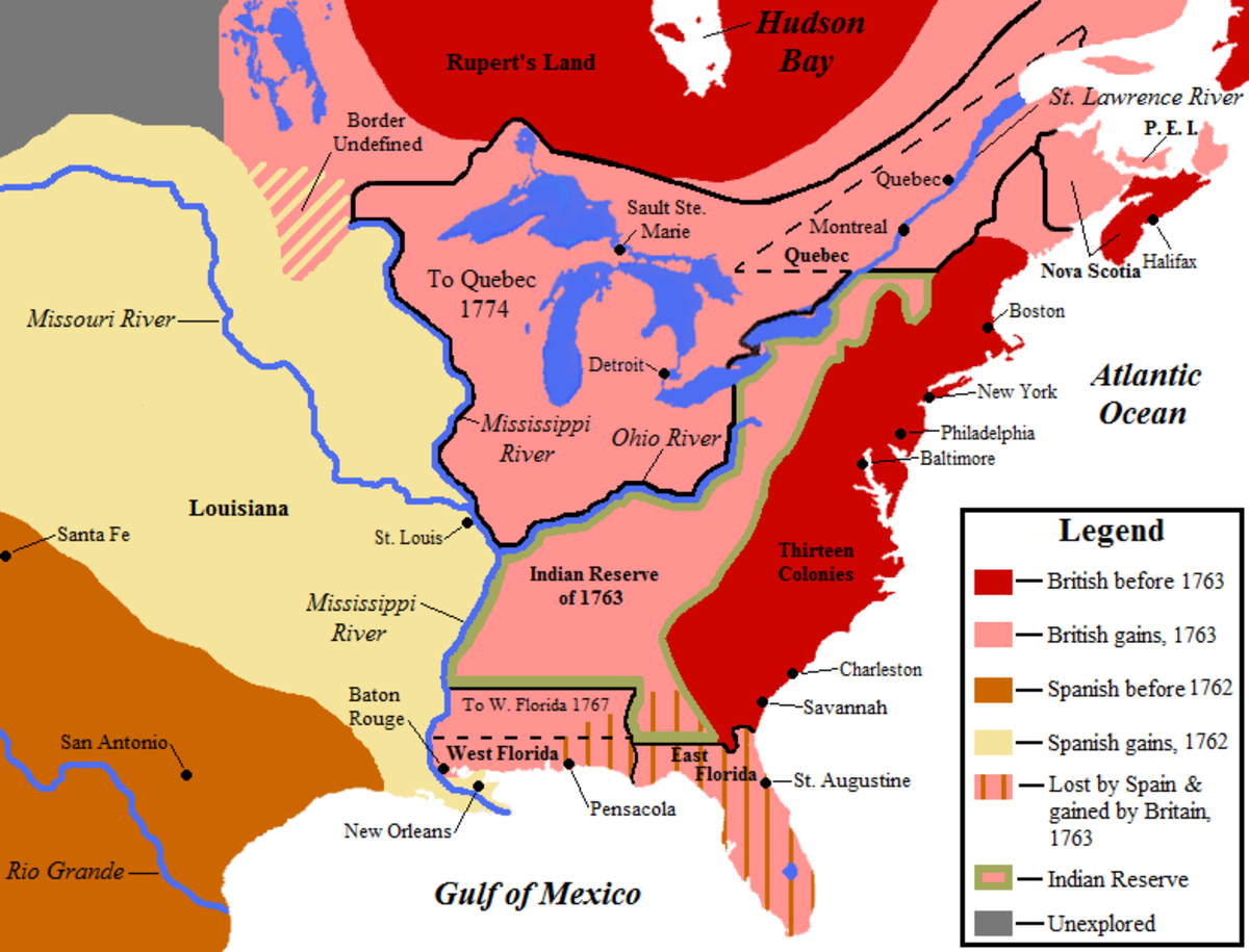 Map showing British territorial gains in North America following the 1763 Treaty of Paris in pink.
