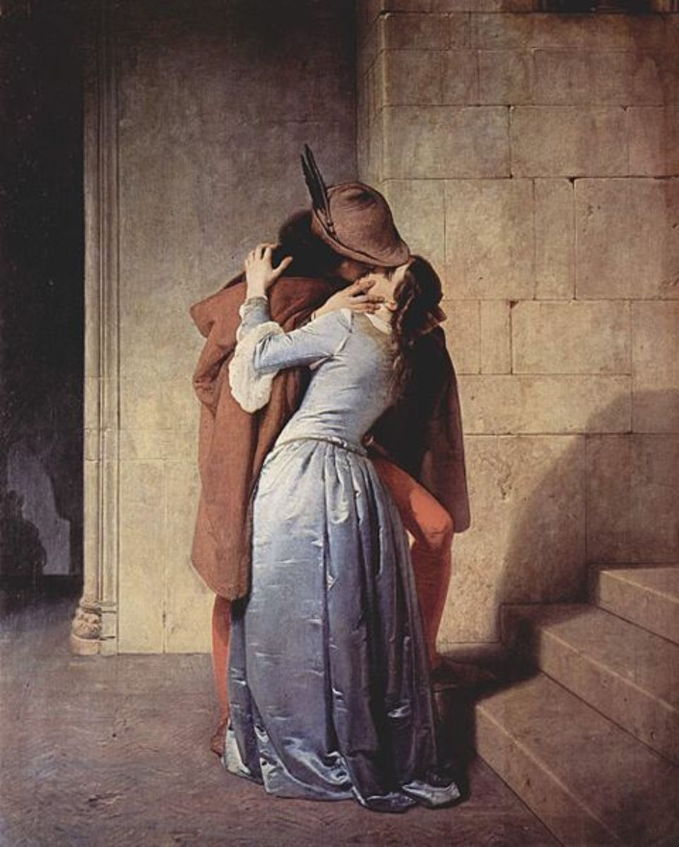"""""""The Kiss"""", by Francesco Hayez, i n1859, oil on canvas. Italian art  Public domain."""