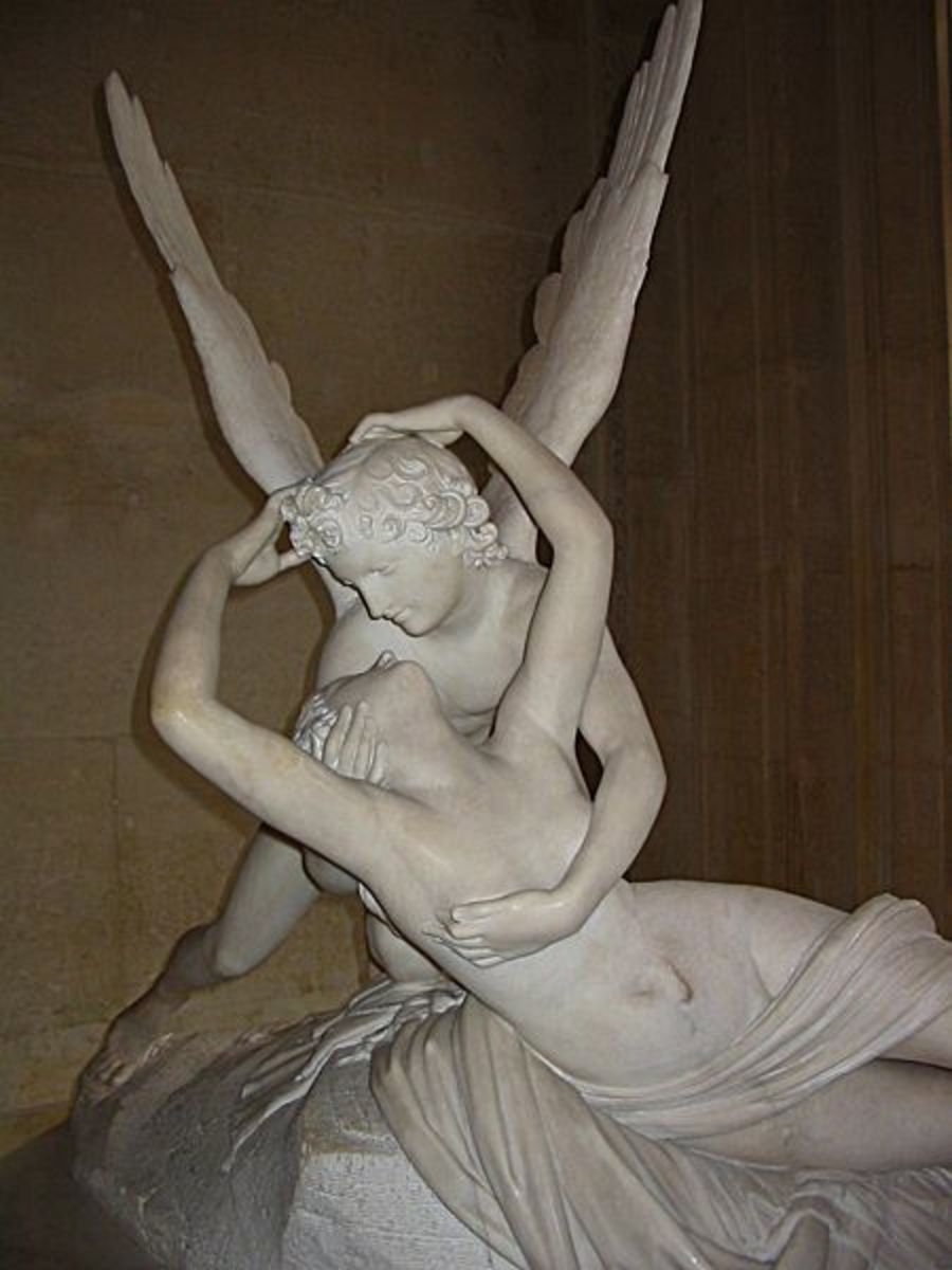 Antonio Canova sculpture work Psyche Revived By Cupids Kiss.  In the Public Domain