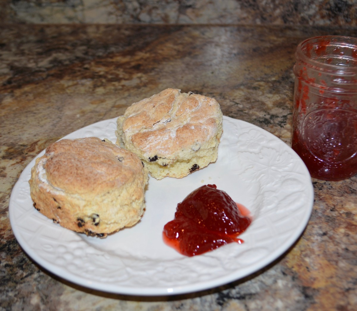 Scones and strawberry jam – it doesn't get any better than this. Well, maybe with a cup of tea, of course.