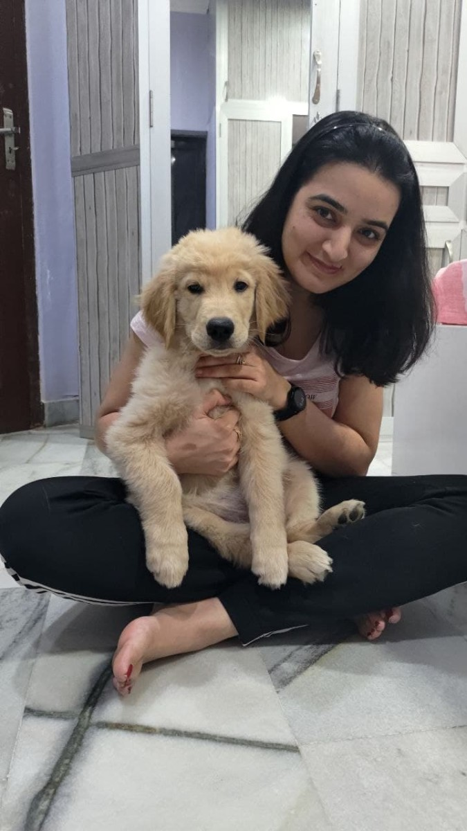 Austin (Golden Retriever with mommy)