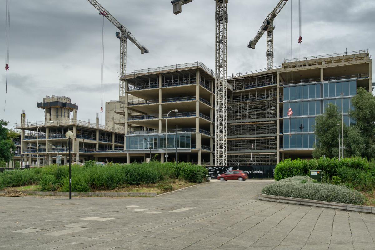 New office development under construction in Milton Keynes (August 2021)