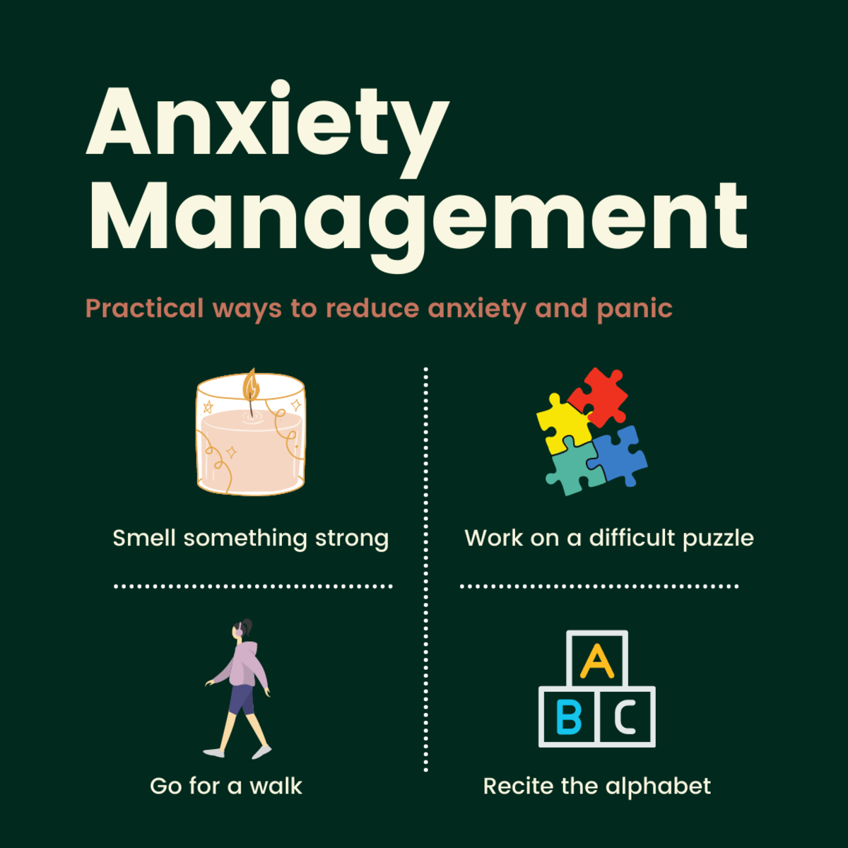 Here are four things that help me when I have high anxiety or experience a panic attack.