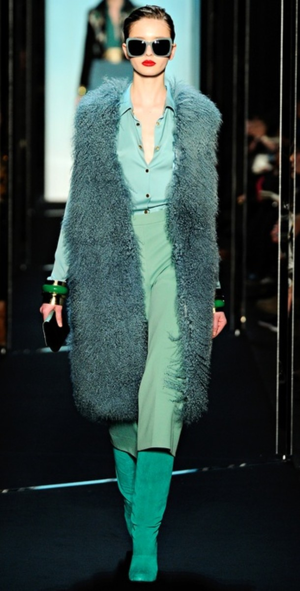 Fur, real or faux, is a hot trend this fall, but don't look for it in neutral colors. Fur has taken on new hues this season as evidenced on the runways.   Diane von Furstenberg Mongolian Lamb fur vest in Aloe.