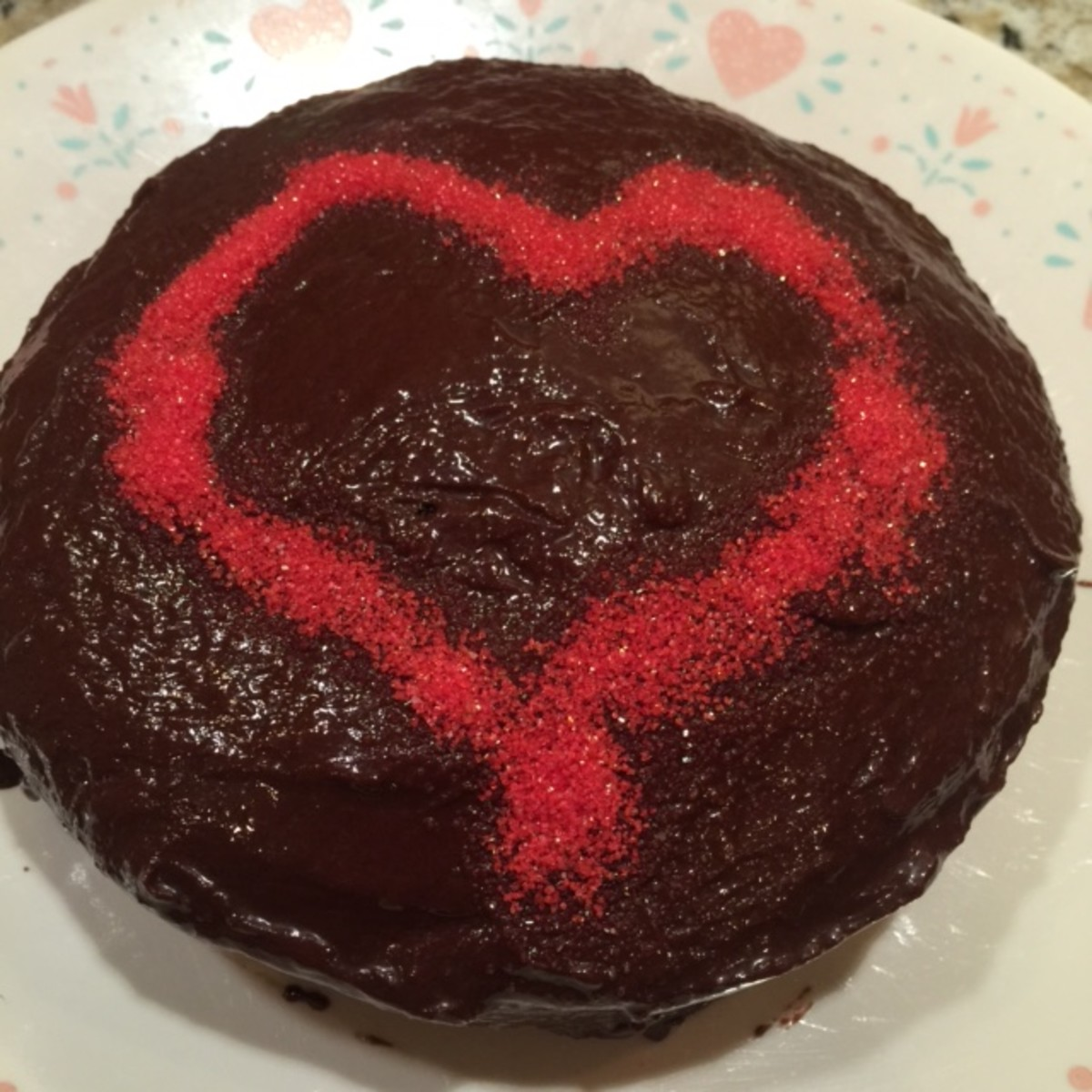The Finished Cake, with some added red sprinkles for Valentine's Day!