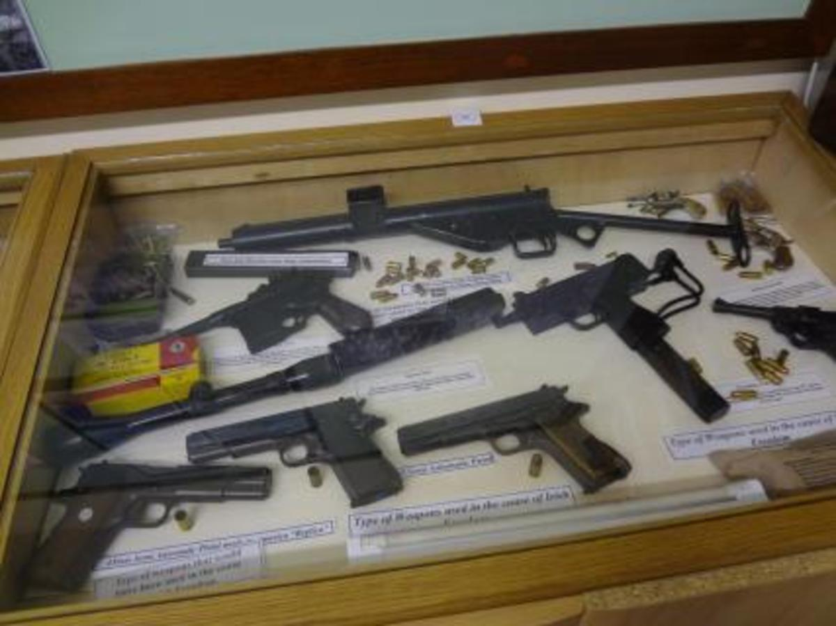 Various handguns including a Colt 1911 and a Mauser C96. In this case there is also a Sten SMG and  Ingram Mach 10 SMP