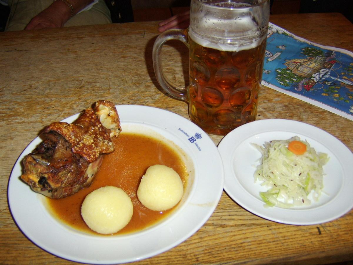 A traditional Bavarian schweinshaxe, as served in the Hofbrauhaus in Munich