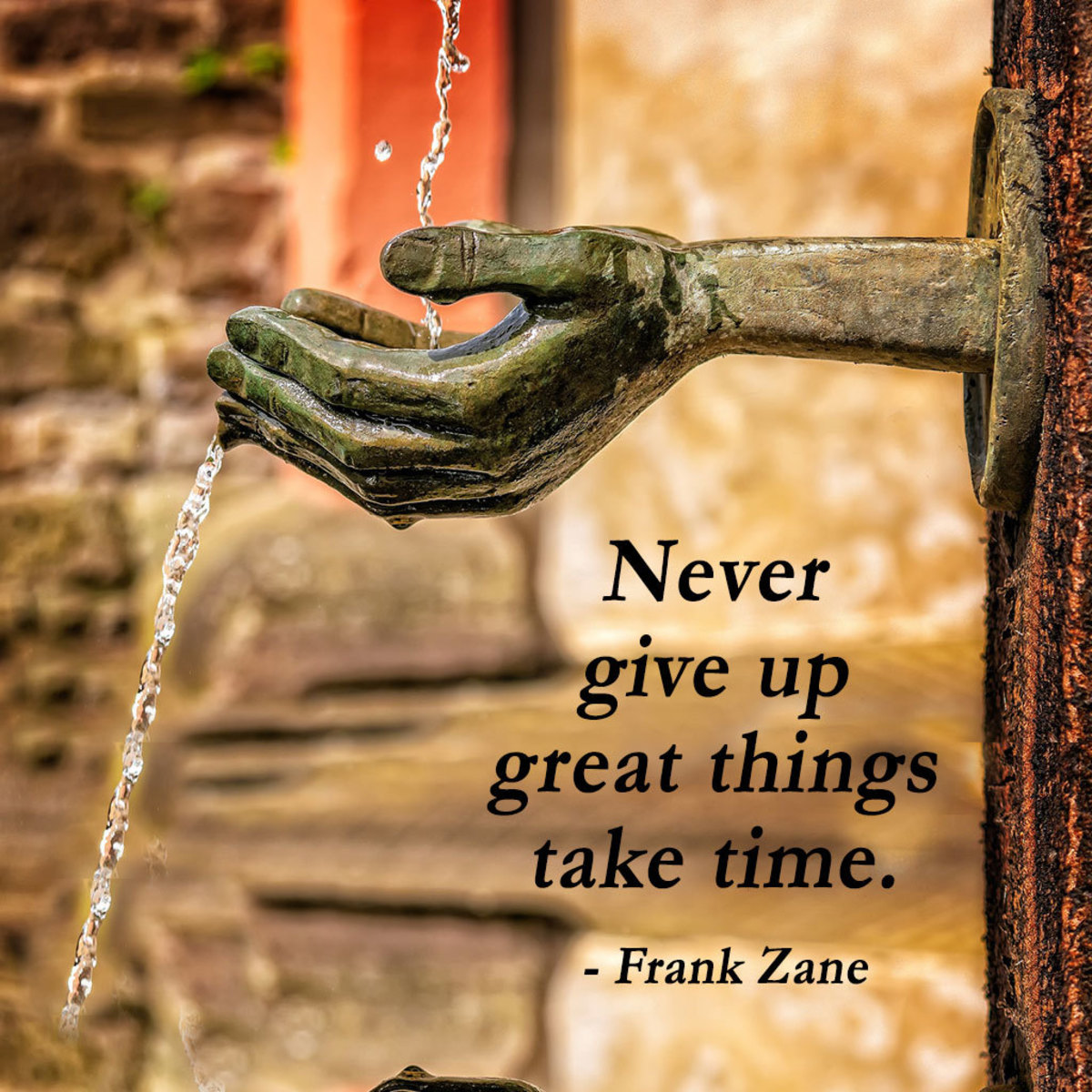 """""""Never give up great things take time."""" - Frank Zane"""