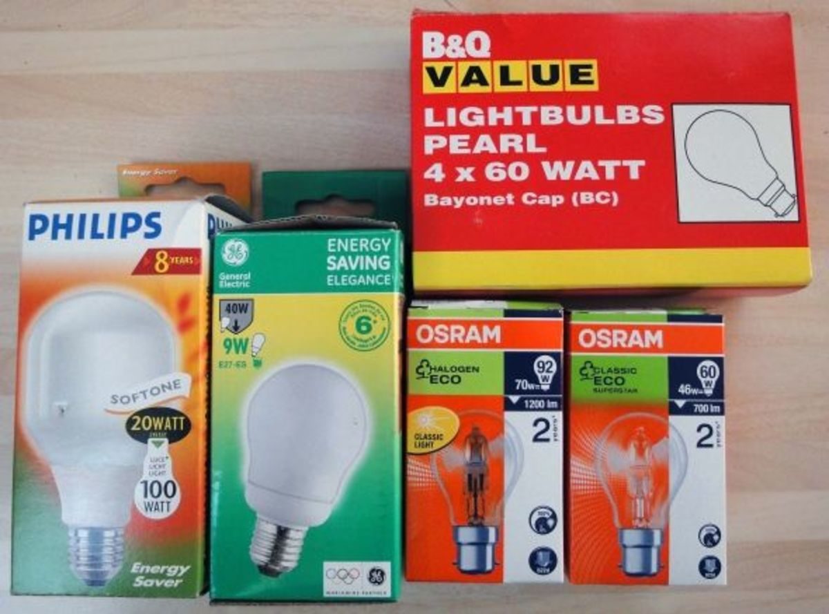 Different energy types of light bulbs