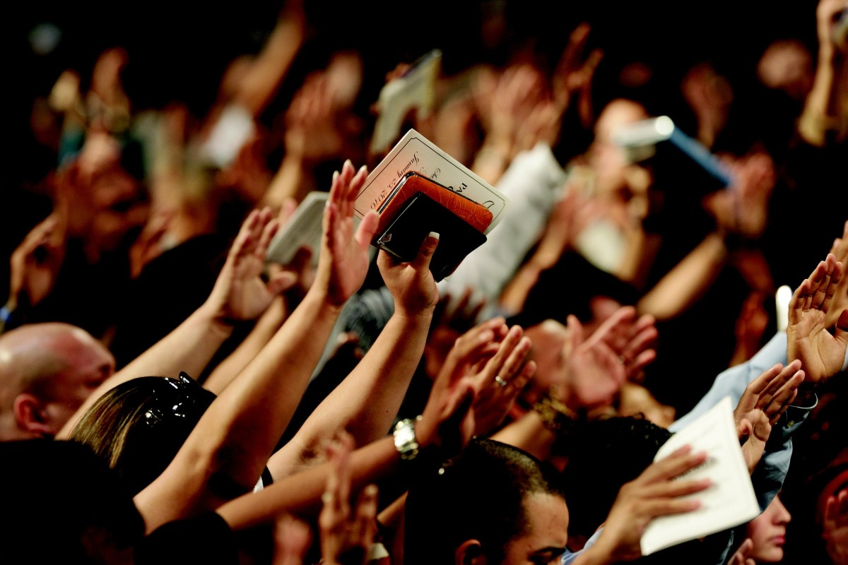 Christians in fervent worship